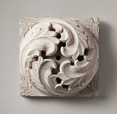 """Restoration Hardware - 1900s Hand-Carved Acanthus Roundel - Whitewash $119 A circa 1900 European architectural fragment from a frieze or coffered ceiling lent its swirled acanthus scrolls to our graceful ornament. Hand-carved from solid wood, it has an intricate openwork center. 10½"""" sq., 4½""""D Weight: approx. 7.5 lbs."""