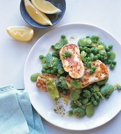 Sizzling Halloumi Cheese with Fava Beans and Mint