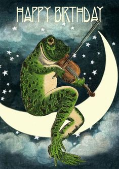 THE FROG ON THE MOON - BIRTHDAY CARD