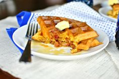 "bacon and cheddar cornmeal waffles | 11 Awesome Easter Brunch Recipes That'll Have You Saying ""Hallelujah"" 