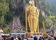 Murugan Statue + Batu Caves at Kuala Lumpar, Malaysia, Asia. #travel