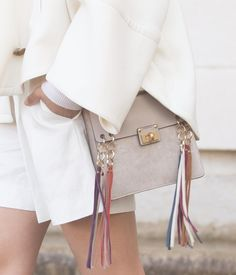 Here comes the Jane  rainbow tassels added a pop of colour to a monochromatic look during #PFW #chloeGIRLS by chloe