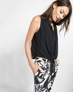 tie-front sleeveless button-down