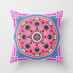 Boho Floral Crest Pink and Red Throw Pillow
