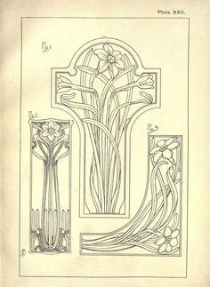 art nouveau Nature drawing and design : Steel - art Motifs Art Nouveau, Motif Art Deco, Art Nouveau Pattern, Bijoux Art Nouveau, Art Nouveau Design, Pattern Art, Tatuaje Art Nouveau, Nouveau Tattoo, Art Nouveau Illustration