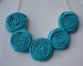 Teal fabric rolled rosette necklace