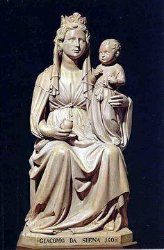 1406, madonna del melograno,   JACOPO DELLA QUERCIA Jacopo di Pietro d'Agnolo di Guarnieri  (Siena, 1374 circa – Siena, 1438) è stato uno scultore italiano.   #TuscanyAgriturismoGiratola