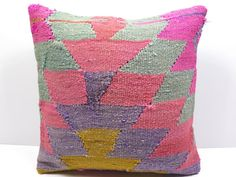"Turkish Kilim Kelim Rug Pillow Cover  16"" X 16"" Kilim Rug Pillow ,Throw Pillow #Turkish"