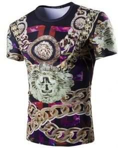 Man T-shirt Lion Feather Flower 3D Full Printed Short Sleeves Blouse Tee Shirt