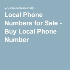 Find This Pin And More On Phonenumberexpert Services. Want To Buy Local Telephone  Numbers ...