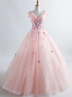 Pink princess blush ball gown floral applique v-neck boho prom quinceanera dress – amyprom Floral Prom Dresses, Best Prom Dresses, Quince Dresses, Prom Dresses Online, Cheap Prom Dresses, Elegant Dresses, Pretty Dresses, Beautiful Dresses, Pink Dresses