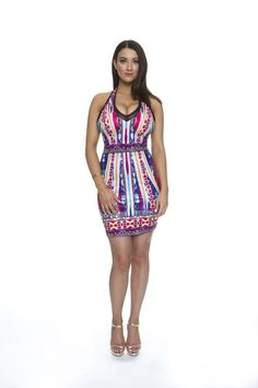 Halter printed body con dress with zip on the back. Product number: K2648 With figure flattering slinky fabric, clip halter neck this beaut with multi print is perfect for that weekend party.