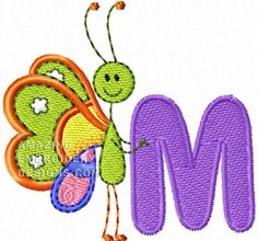 Amazing Butterfly Font - Cute Alphabets - Embroidery Fonts