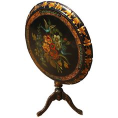 Century Black Painted Floral and Bird Design Tilt Top Tea Table from The Moody Carpenter Exclusively on Ruby Lane Tilt Table, Tea Tables, Bird Design, Ruby Lane, Ruby Red, Carpenter, Vintage Furniture, 19th Century, Decorative Plates