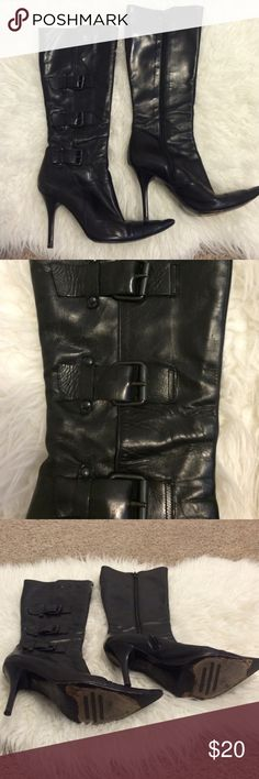 Charles David boots w buckles& stiletto heels Great boots, Stiletto heels, used but still a lot of wear left- great deal! Charles David Shoes Heeled Boots