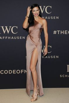 """Brazilian supermodel Adriana Lima  wears Cushnie Et Ochs pink-champagne coloured gown at the IWC Schaffhausen at SIHH 2017 """"Decoding the Beauty of Time"""" Gala Dinner in Geneva. #celebrity #redcarpet #celebritystyle #IWCSchaffhausen #adrianalima #brazilian #fabfashionfix"""
