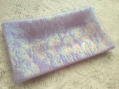 Fused Glass Tray Iridescent Lavender Art Glass by AngelasArtGlass