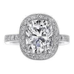Cushion Diamond Vintage Style Engagement Ring with Pave Set Round Diamonds 0.60 tcw. In 14K any gold, any size stone  $1630