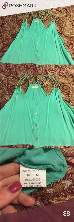Tobi turquoise crop tank top, size medium Tobi turquoise crop tank top, size medium, 100% viscose, gently worn a few times, in great condition, no holes, stains, tears. Tobi Tops Tank Tops