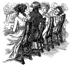 Regency dinner etiquette - After dinner, ladies retired to the drawing room to gossip and embroider and chat for about an hour while the gentlemen enjoyed their Port in the dining room. They would then gather for tea and conversation- sometimes cards, and Pride And Prejudice Characters, Hanoverian Kings, Etiquette And Manners, Regency Era, Painting & Drawing, Drawing Room, Historical Romance, Jane Austen, Fashion Plates