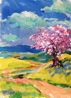 Abstract Expressionist Art, Original Landscape Painting, Pink, Blue, Lavender