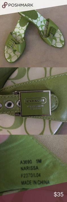 "Coach 5 Narissa sandals green apple kitten heels Trendy and sophisticated genuine Coach 5 Narissa sandals green apple kitten 2"" heels. Coach Shoes Sandals"