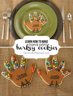 cutest hand print turkey cookies with candy tail for 2014 Thanksgiving #2014…