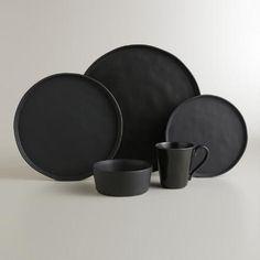 Black Organic Rimmed Dinner Plates, Set of 6 | World Market