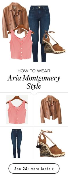 """Aria Montgomery outfit in 6.05."" by bookvvorm on Polyvore featuring Armani Collezioni, J Brand, WithChic and Aquazzura"