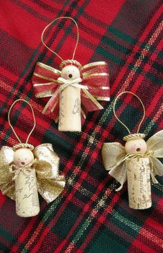 Cork Christmas Ornaments | Wine Cork Christmas Ornaments Homemade | Caroling Cork Angels / Set of ...