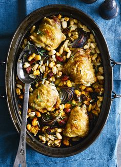 One-pot chicken with cannellini beans and chorizo: This recipe is really easy to make and requires minimal hands-on time. What's more, it comes in at under 300 calories, making it a great midweek meal.