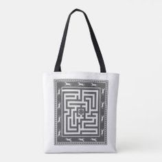 Tote Bag MAZE OF HORSES black on white Detail Shop, Holiday Photo Cards, Edge Design, Horse Riding, Maze, Custom Clothes, Gifts For Dad, Reusable Tote Bags, Horses