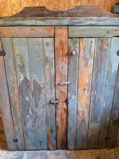Antique 2 Door Original Blue Paint Cupboard 1800's Stunning Primitive But Solid