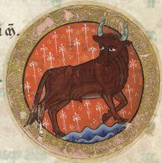 The Hunterian Psalter: Calendar. Zodiac Sign of Taurus.