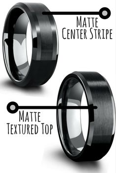 Mens wedding rings! All black tungsten wedding rings. Both are very similar. The main difference is one has a matte center stripe and the other is all matte finished on top. I love both of these modern looking mens wedding rings.