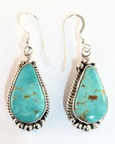 Native American Sterling Silver Navajo Indian Kingman Turquoise Earrings Signed. #Southwest