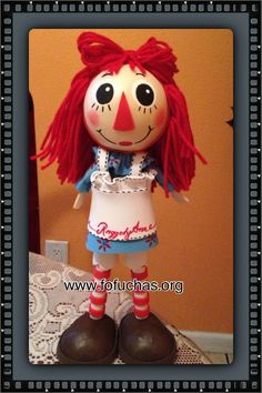 Raggedy Ann Fofucha style. Handmade using foam sheets. order yours today.follow me on fb www.facebook.com/fofuchashandmadedolls #Raggedy Ann #Fofuchas #crafts