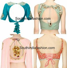 Take a look at these statement blouse back neck designs and different styles of the trendy tassels. Take a look at these statement blouse back neck designs and different styles of the trendy tassels. Choli Designs, Saree Blouse Neck Designs, Stylish Blouse Design, Fancy Blouse Designs, Back Design Of Blouse, Sari Bluse, Indie Mode, Kurta Neck Design, Designer Blouse Patterns