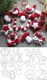 Learn how to make beautiful Christmas decorations made of fabric or felt - Oscar Wallin Christmas Sewing, Christmas Diy, Christmas Wreaths, Homemade Christmas, Advent Wreaths, Christmas Tables, Reindeer Christmas, Modern Christmas, Scandinavian Christmas