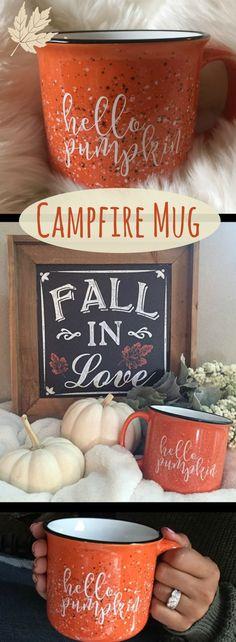 Hello Pumpkin Campfire Mug - 15 oz, Pumpkin Spice Latte, Coffee Mug, Fall Decor, Pumpkin Decor, Coffee Cup, Ceramic. Cozy up to the fire with your favorite fall inspired beverage.