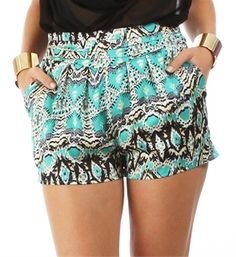 Teal Tribal Printed Shorts