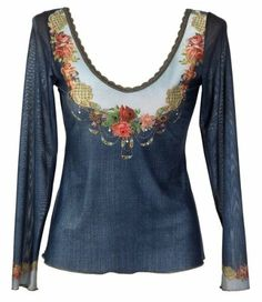 Michal Negrin Blue Jeans Chiffon Lycra Long Sleeves U-Neck Shirt Crafted with Swarovski Crystals Accented Victorian Roses Motif on Bustline and Lace Trim - Size XL Michal Negrin,http://www.amazon.com/dp/B0087T9JN0/ref=cm_sw_r_pi_dp_19Vlsb1PEQ19KKEW