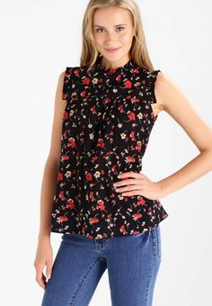 "Dorothy Perkins. HIGH NECK DITSY FLORAL DOBBY  - Blouse - black multi. Fit:regular. Outer fabric material:100% cotton. Our model's height:Our model is 71.0 "" tall and is wearing size 36. Pattern:floral. Care instructions:machine wash at 40°C,do not tumble dry. Length:..."