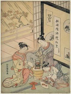 yajifun:    Burning Maple Leaves to Heat Sake / Harunobu  林間煖酒焼紅葉 鈴木春信 1766年頃