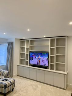 Media Furniture - The BookCase Co Built In Tv Wall Unit, Built In Tv Cabinet, Built In Shelves Living Room, Living Room Storage, Media Wall Unit, Tv Cupboard, Cupboard Ideas, Living Room Tv Unit Designs, Living Room Wall Units