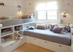 12 Clever Small Kids Room Storage Ideas - www. 12 Clever Small Kids Room Storage Ideas - www. 12 Clever Small Kids Room Storage Ideas - www. Bed In Corner, Corner Twin Beds, Ikea Twin Bed, Ikea Bunk Bed, Corner Table, Corner Unit, Kids Corner, Kids Bunk Beds, Bunk Beds For Girls Room