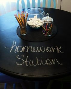 A perfect place for homework: a write-on-able/erasable table! I might have to do this to my kitchen table, its already black and has some scratches it may improve it.