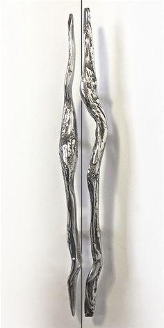 Driftwood, bright polished aluminium.