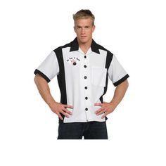 1950s Mens Bowling Shirt- Black and White  http://www.vintagedancer.com/1950s/1950s-mens-clothing/