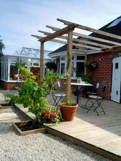 Finished Wall Leaning Pergola